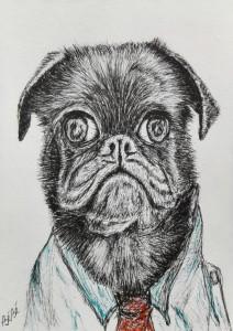ben-baauw-hond-met-stropdas-pentekening-11x15